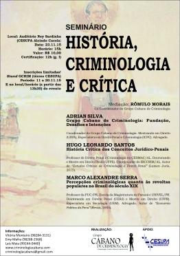 Folder Seminário História, Criminologia e Crítica - Grupo Cabano de Criminologia [final]